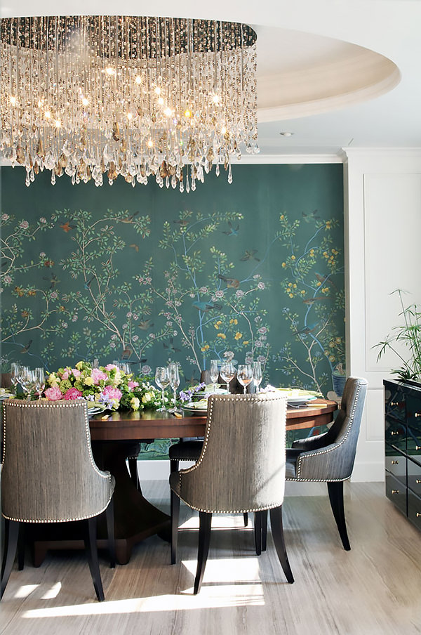 10 salas de jantar com papel de parede chinoiserie for Dining room mural wallpaper