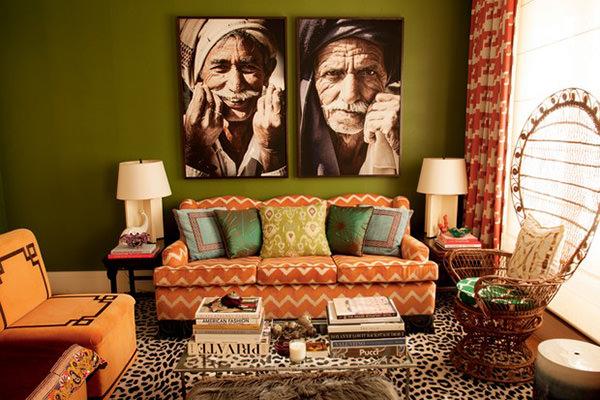 Decoração com sofá laranja, Sofa laranja na sala